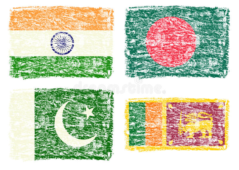 Crayon draw flag of South Asia country. On white background stock illustration