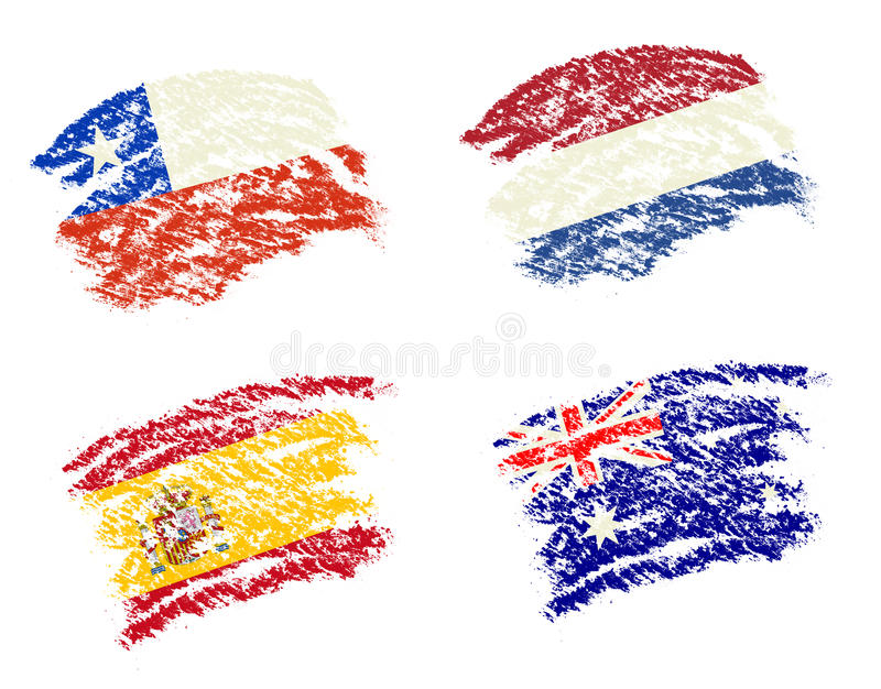 Crayon draw of group B worldcup soccer 2014 country flags. Chile, Spain, Australia, Netherlands royalty free illustration