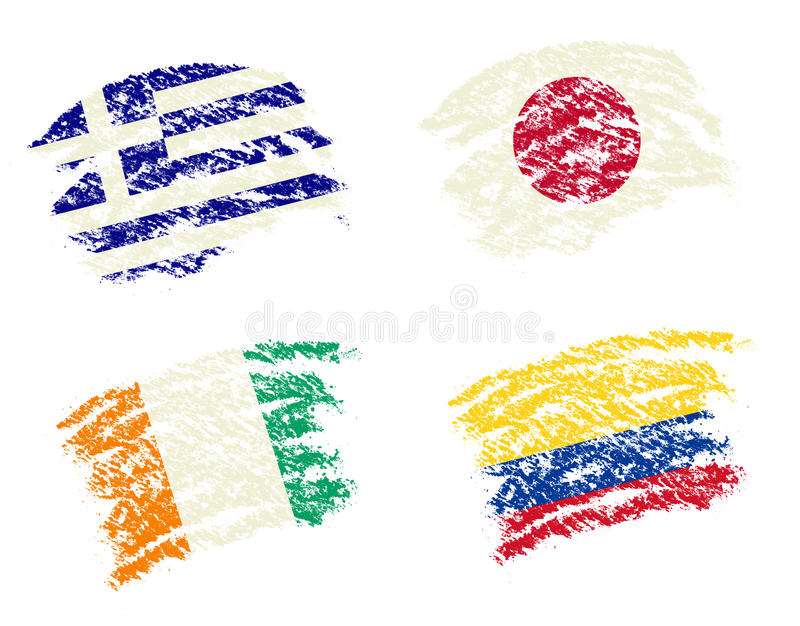 Crayon draw of group C worldcup soccer 2014 country flags. Greece,Japan,Ivory Coast,Columbia vector illustration