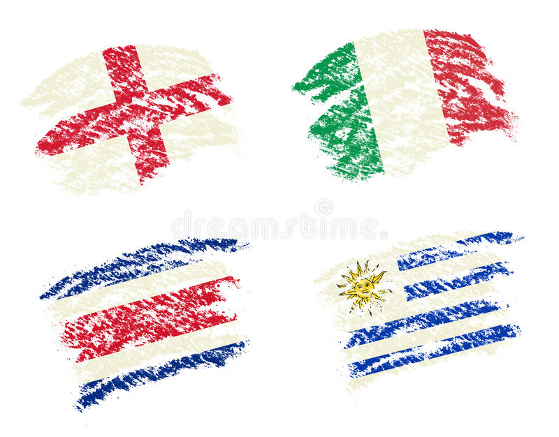 Crayon draw of group D worldcup soccer 2014 country flags. England,Italy,Costa Rica,Uruguay stock illustration