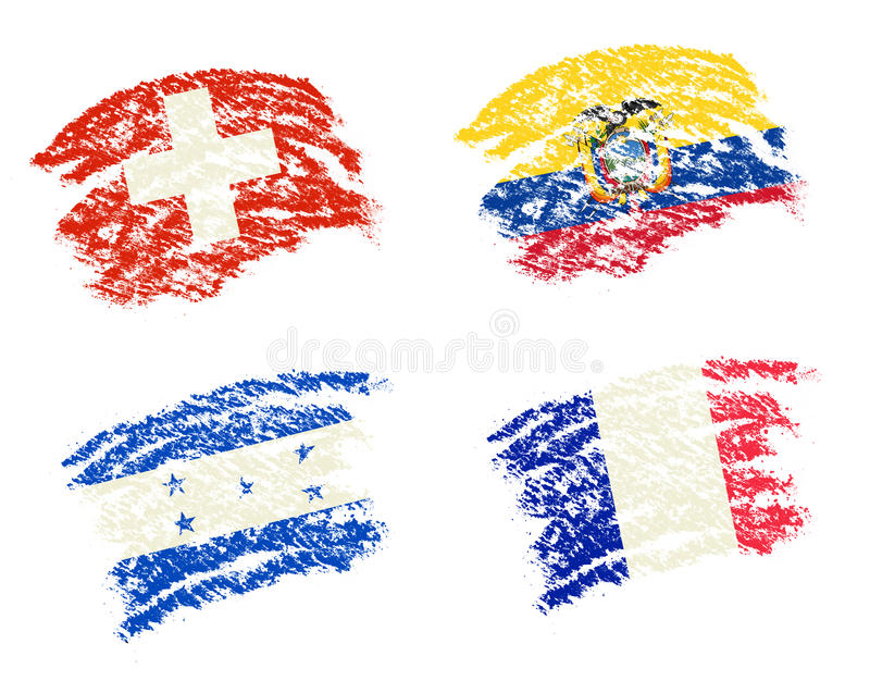 Crayon draw of group E worldcup soccer 2014 country flags. Switzerland,Ecuador,Honduras,France vector illustration