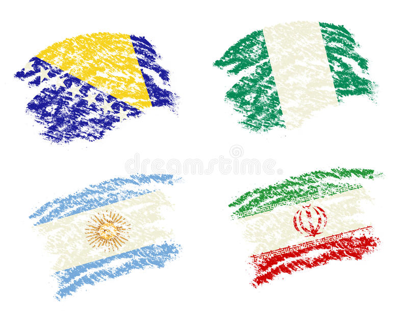 Crayon draw of group F worldcup soccer 2014 countr. Y flags, Bosnia,Argentina,Iran,Nigeria royalty free illustration