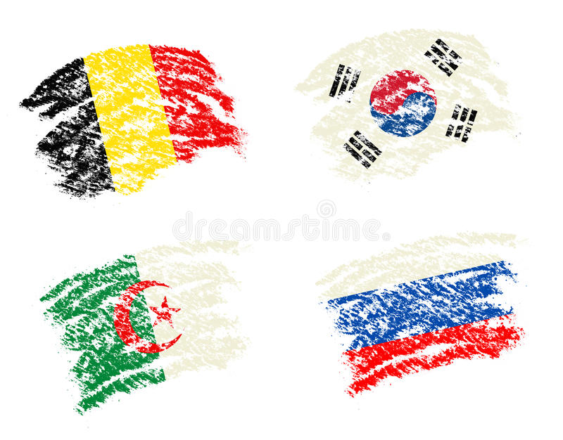 Crayon draw of group H worldcup soccer 2014 country flags. South Korea,Belgium,Algeria,Russia royalty free illustration