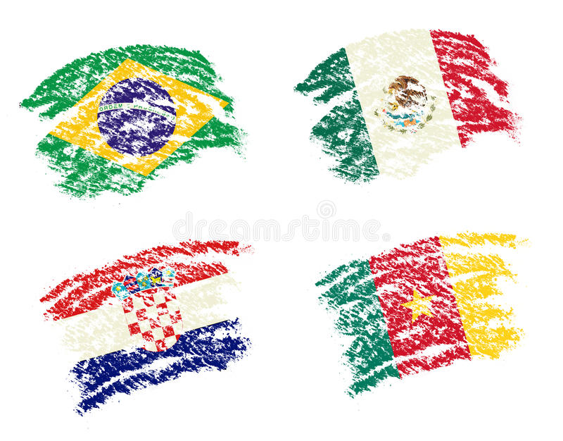 Crayon draw of group A worldcup soccer 2014 country flags. Brazil, Mexico,Croatia, Cameroon stock illustration