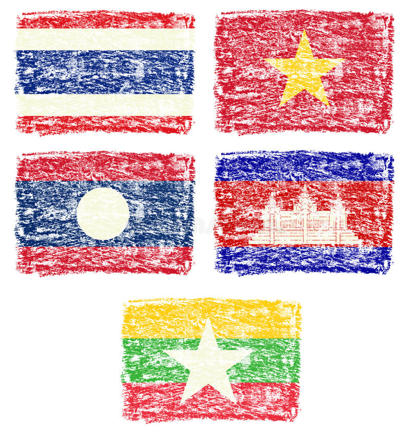 Crayon draw of south east Asia country flag. Crayon draw of south east Asia country national flag on white background vector illustration