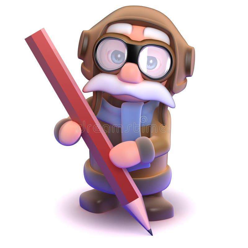 crayon du pilote 3d illustration libre de droits