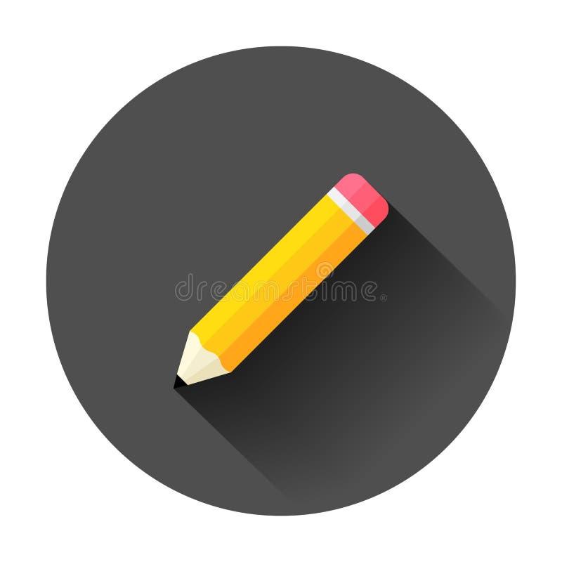 Crayon en bois avec l'icône de gomme en caoutchouc dans le style plat highlighter illustration stock