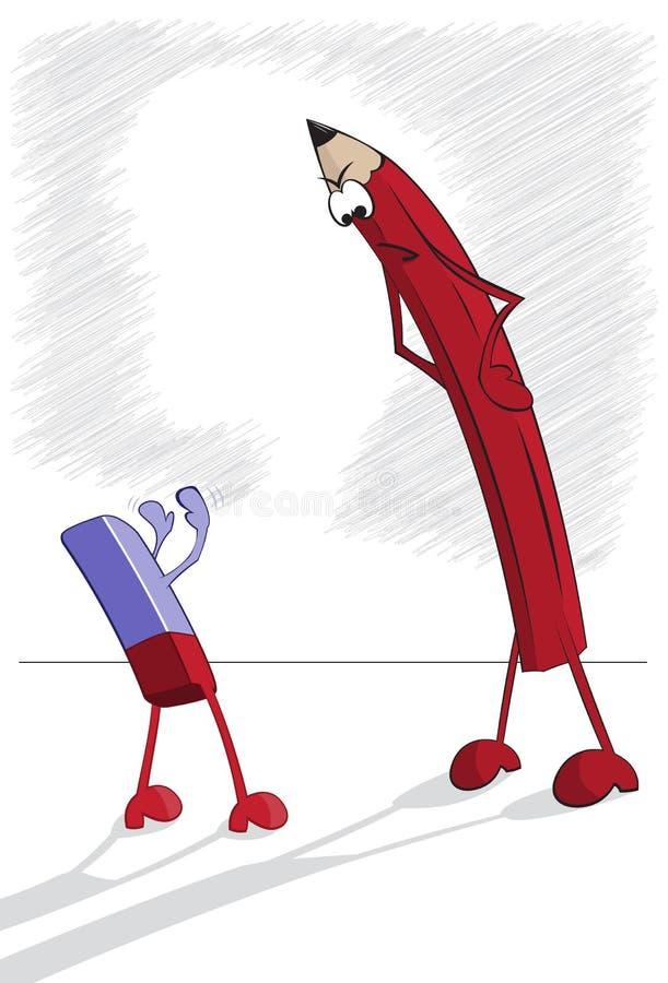 Crayon et gomme à effacer illustration stock