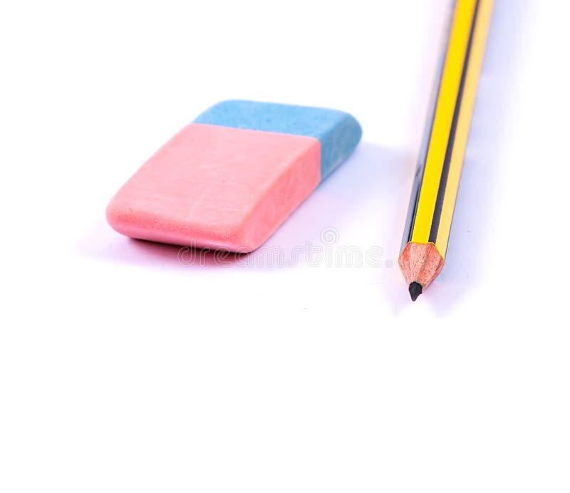 Crayon et gomme image libre de droits