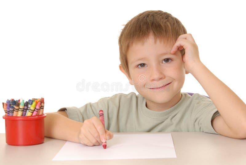 crayon för 2 pojke arkivfoton