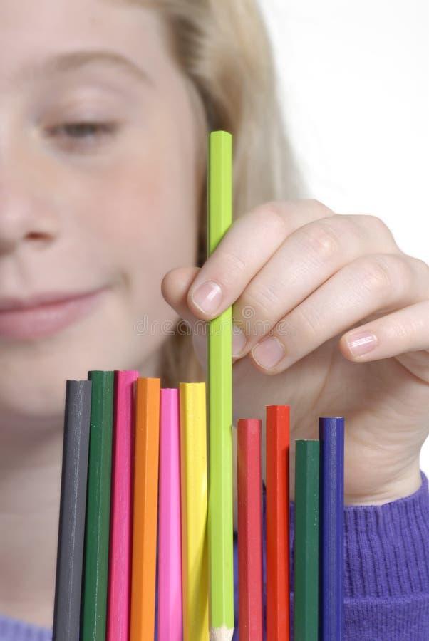 crayon flickan arkivfoton