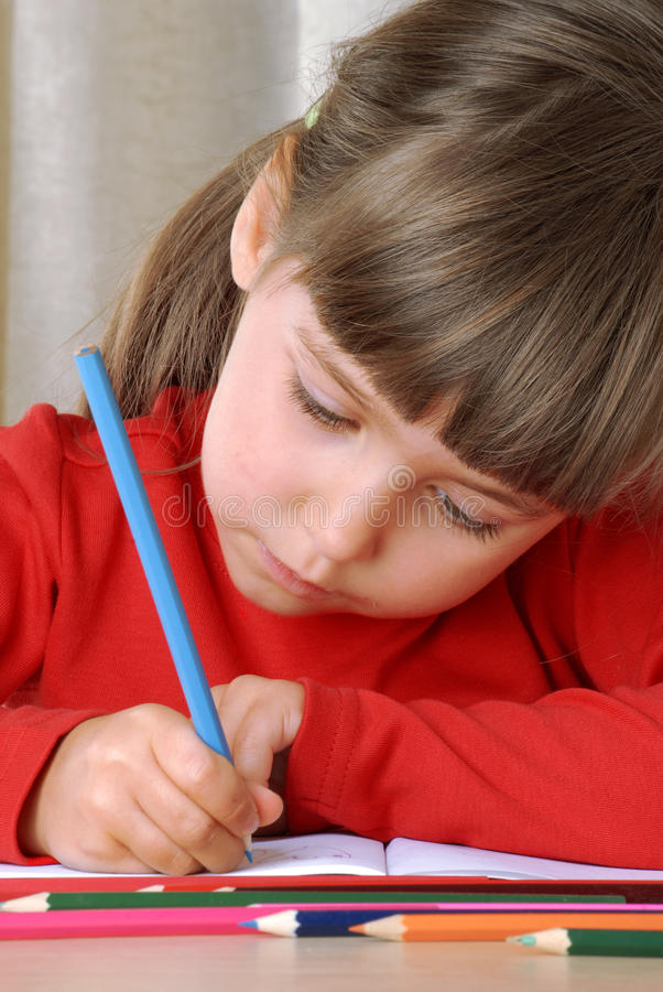 Download Crayon Girl. stock image. Image of coloring, creativity - 21944029