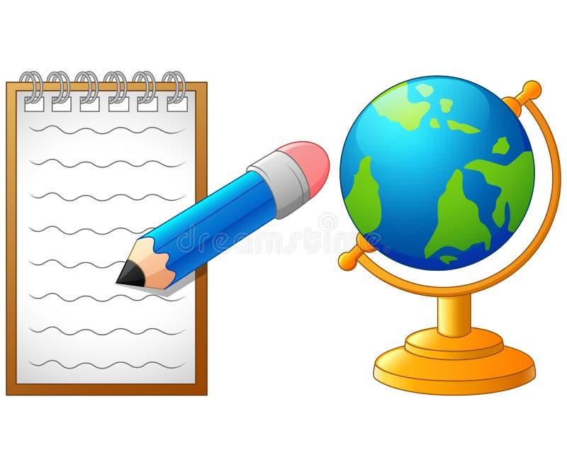 Crayon, globe et papier de bande dessinée, de nouveau à l'école illustration libre de droits