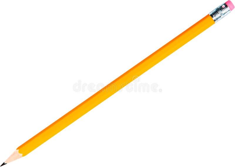 Crayon jaune avec la gomme - d'isolement photo stock
