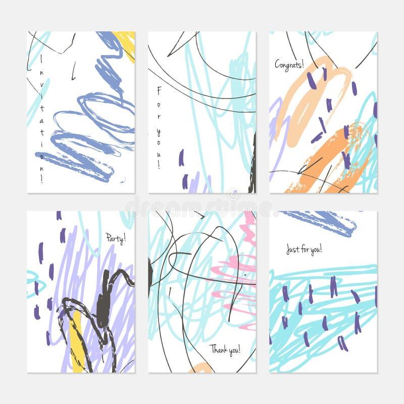 Crayon kids drawing scribbles dots and circles. Hand drawn creative invitation or greeting cards template. Anniversary, Birthday, wedding, party, social media royalty free illustration