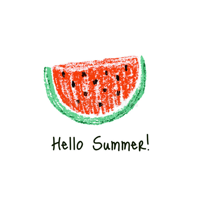 Crayon kids drawn watermelon slice. Vector illustration stock illustration