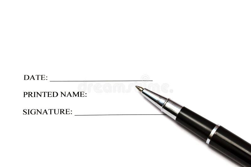 Crayon lecteur d'isolement sur un papier de signature en blanc image libre de droits
