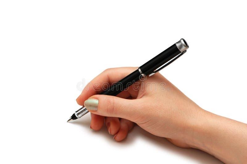 Crayon lecteur de fixation de main d'isolement photo libre de droits