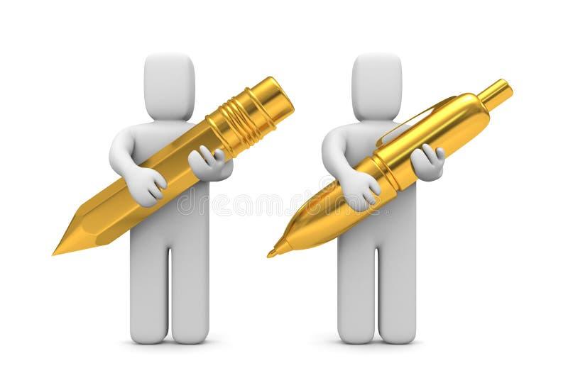 Crayon lecteur et crayon d'or de prise de gens illustration libre de droits