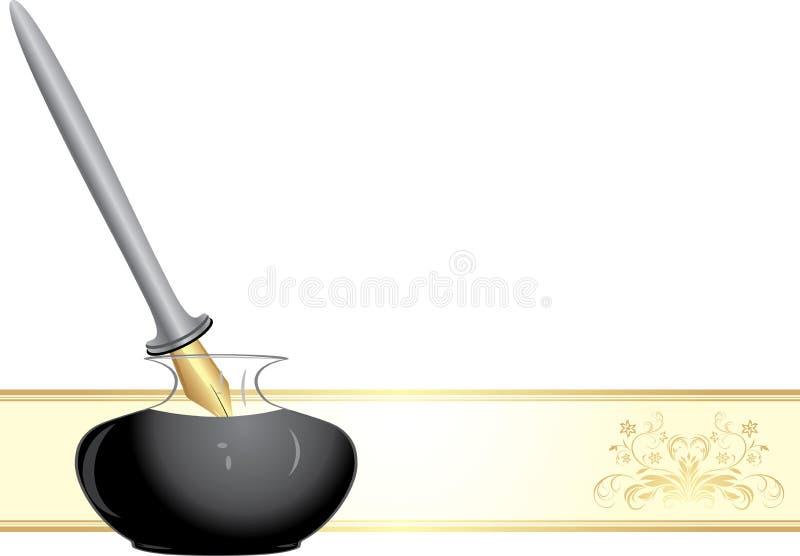 Crayon lecteur et encrier encastré de clavette illustration stock