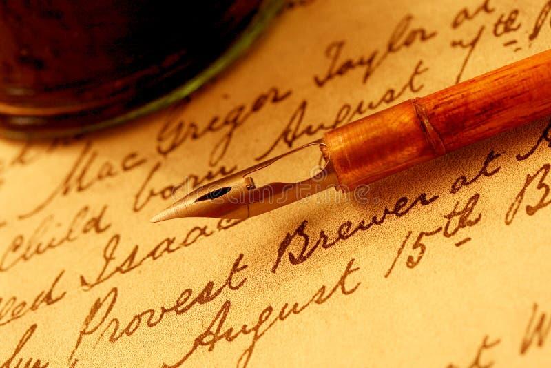 Crayon lecteur et encrier encastré de graine photos stock