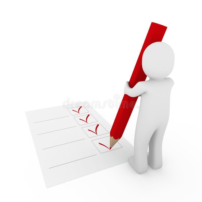crayon lecteur humain de rouge du contrôle 3d illustration de vecteur