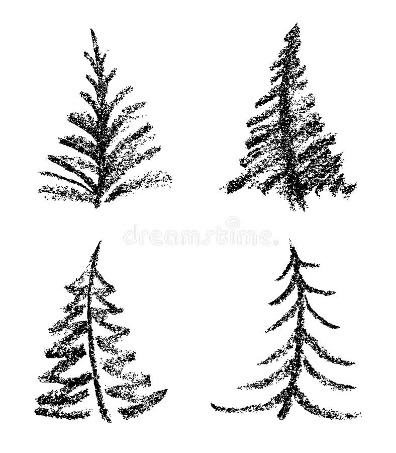 Crayon like child`s drawing style of merry christmas tree set. vector illustration