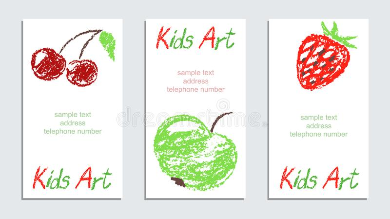 Crayon like child`s hand drawing art colorful juicy fruits card set on white. stock illustration