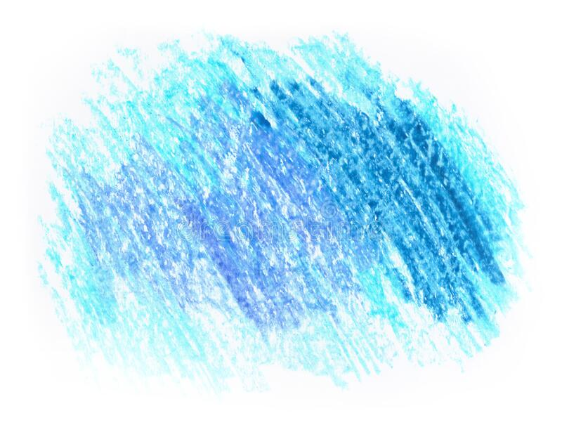 Crayon oil pastel colored pencil hand drawn blot spot isolated on white paper. In light freezing cold blue color. Highlight design, decoration card background royalty free stock photo
