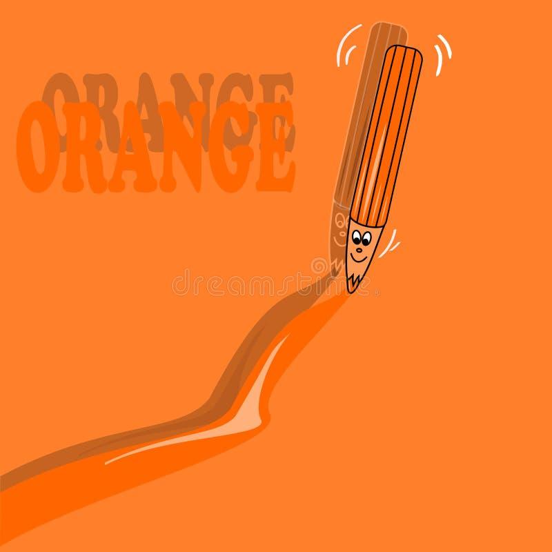 Crayon orange illustration de vecteur