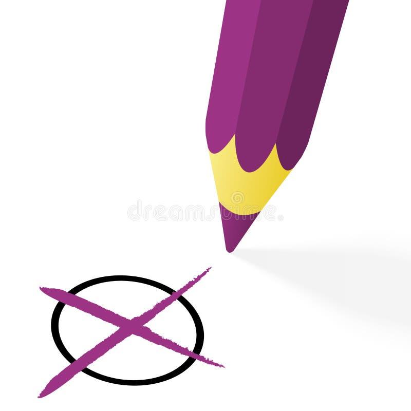crayon pourpre avec la croix image stock