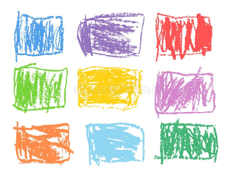 Crayon rectangular colorful shapes set. Like kid`s drawn art strokes abstract square design elements. stock illustration