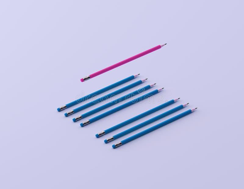 Crayon rose différent et corriger sur le fond en pastel bleu concept cr?atif minimal L'id?e au sujet de la direction d'affaires image stock