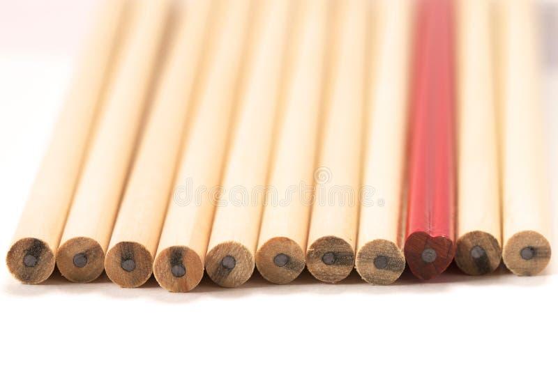 Crayon rouge parmi en bois photographie stock libre de droits