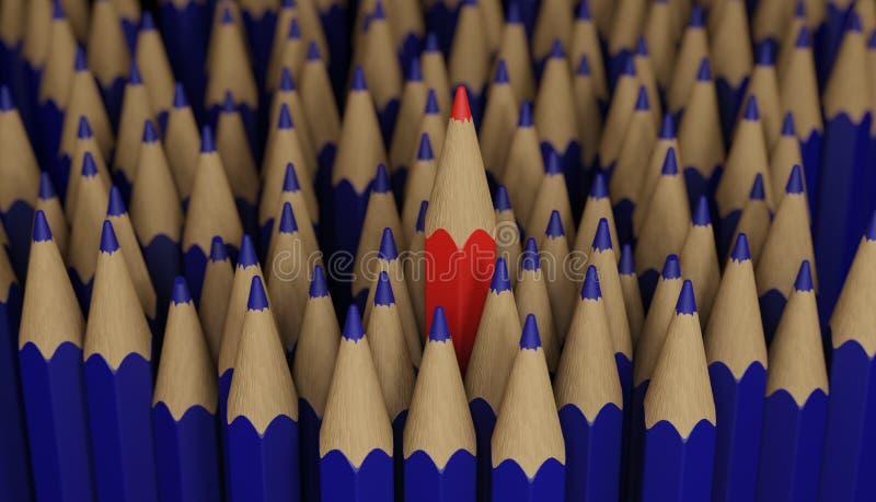 Crayon rouge restant à l'extérieur Soyez une amorce image stock