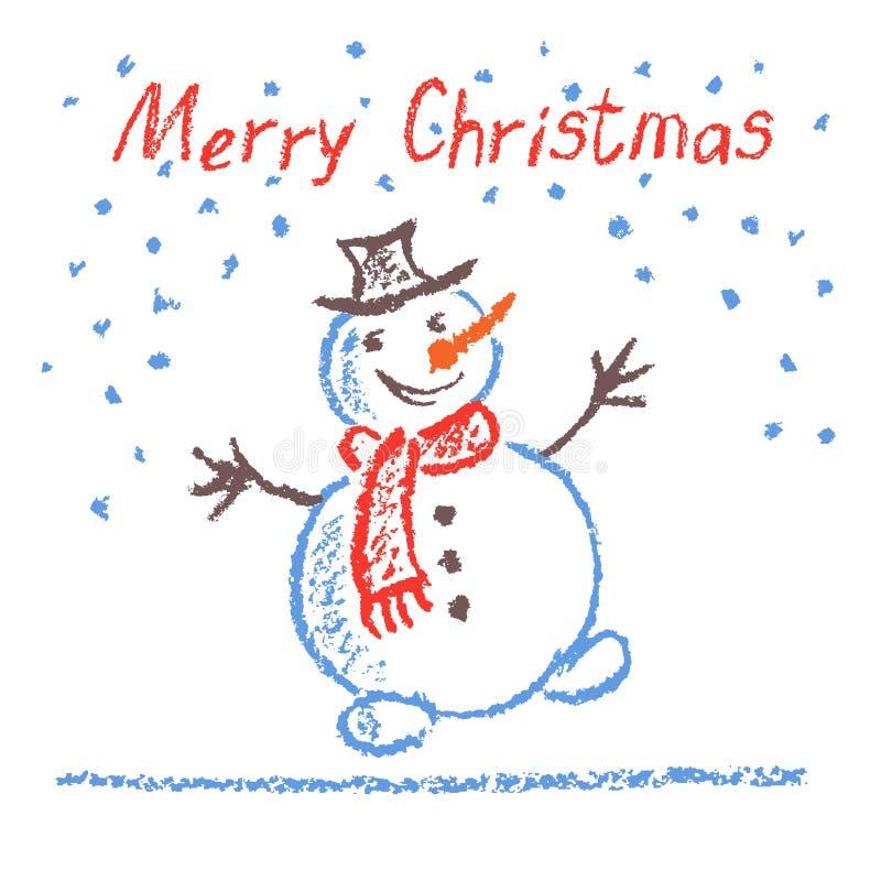 Crayon ` s ребенка рисуя с Рождеством Христовым смешной снеговик с литерностью на белизне иллюстрация штока