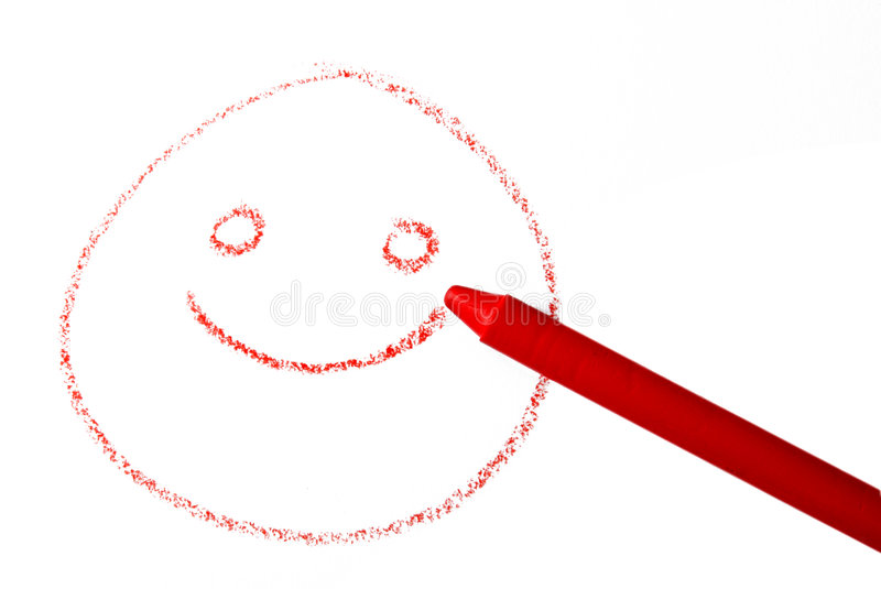 Crayon smile. A crayon draw a smiley on white background stock photography