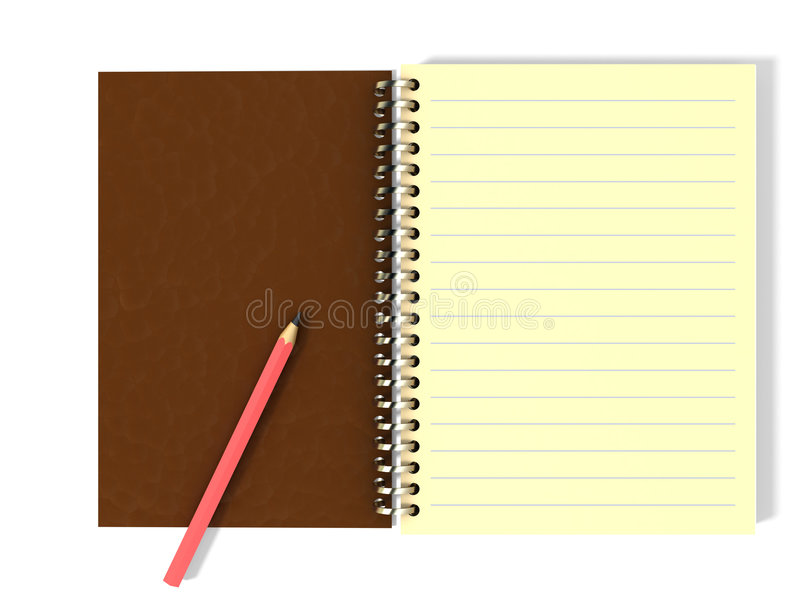 Crayon sur le bloc-notes illustration stock