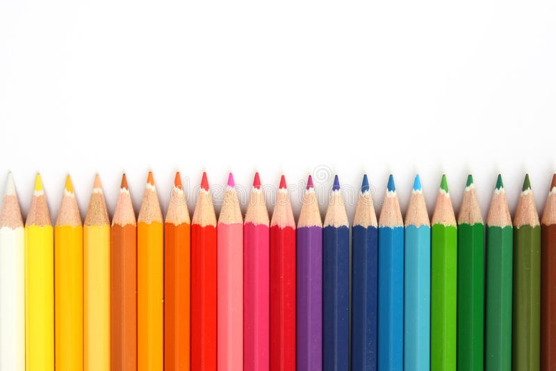 Crayon Tips. A row of childrens coloured led crayon pencils