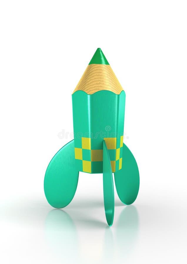 Crayon vert de fusée illustration stock