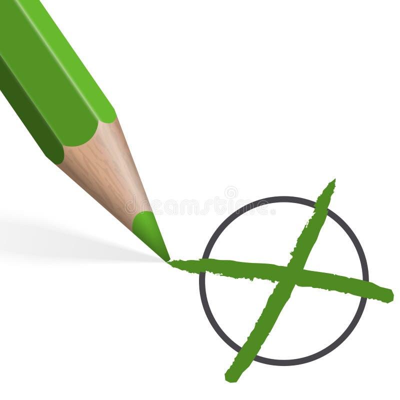 crayon vert pour la sélection illustration de vecteur