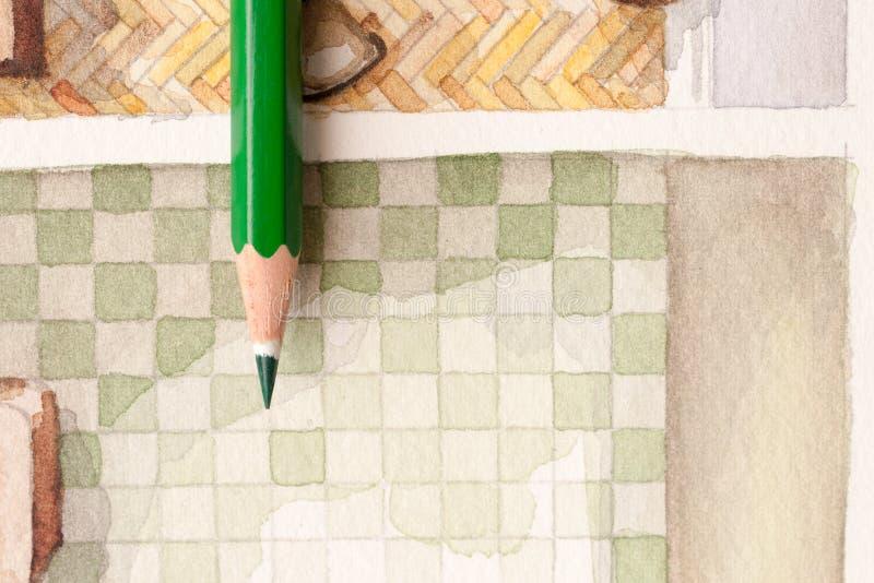 Crayon vert sur les tuiles floorplan d'aquarelle de salle de bains illustration libre de droits
