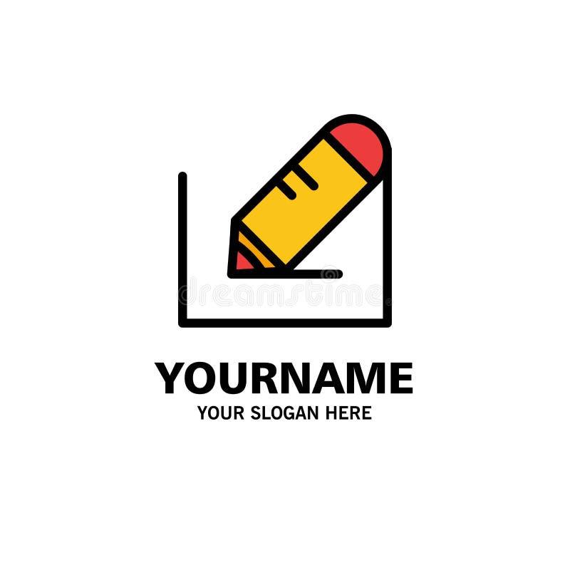 Crayonnez, écrivez, textotez, des affaires Logo Template d'école couleur plate illustration de vecteur