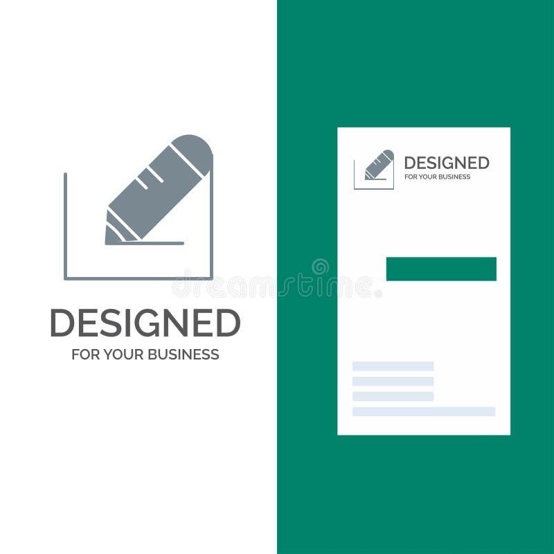 Crayonnez, écrivez, textotez, instruisez Grey Logo Design et le calibre de carte de visite professionnelle de visite illustration de vecteur