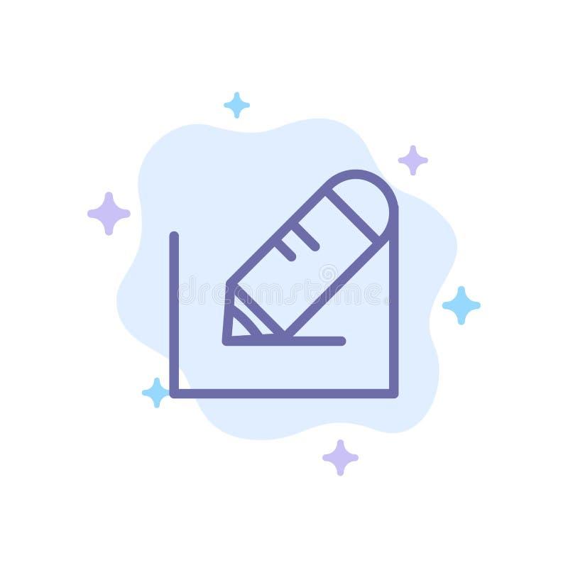 Crayonnez, écrivez, textotez, instruisez l'icône bleue sur le fond abstrait de nuage illustration stock