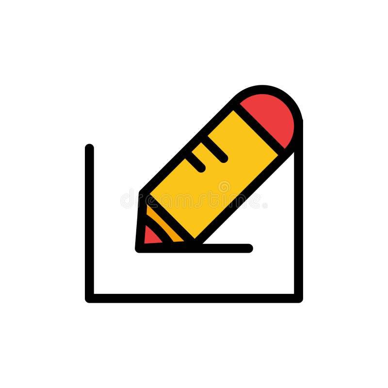 Crayonnez, écrivez, textotez, instruisez l'icône plate de couleur Calibre de bannière d'icône de vecteur illustration stock