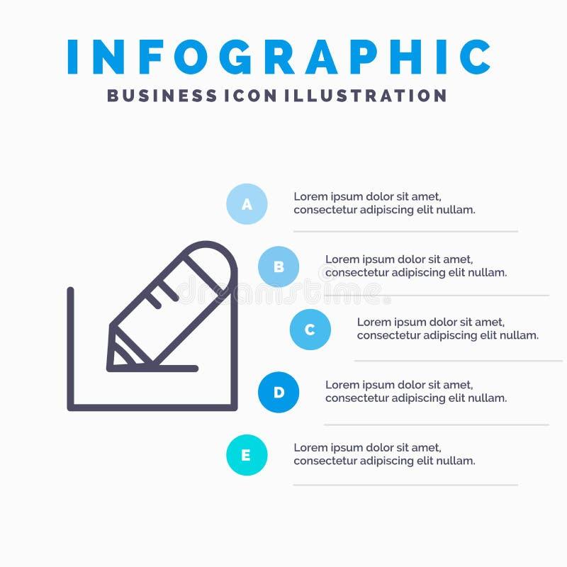 Crayonnez, écrivez, textotez, instruisez la ligne icône avec le fond d'infographics de présentation de 5 étapes illustration stock