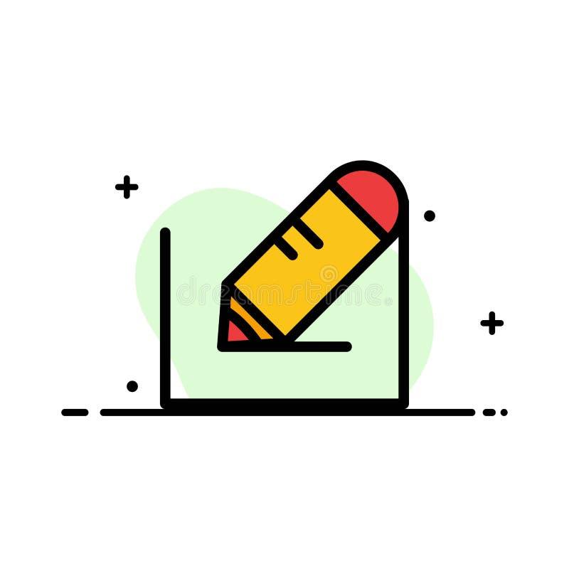 Crayonnez, écrivez, textotez, instruisez la ligne plate calibre rempli d'affaires de bannière de vecteur d'icône illustration stock