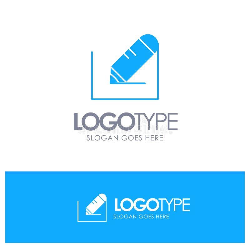 Crayonnez, écrivez, textotez, instruisez le logo solide bleu avec l'endroit pour le tagline illustration stock