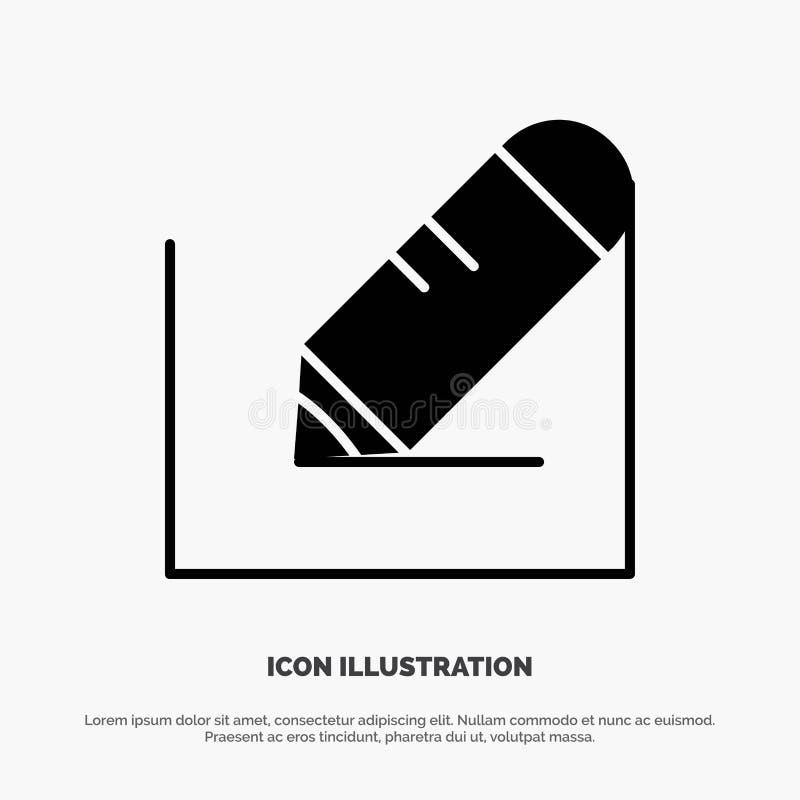 Crayonnez, écrivez, textotez, instruisez le vecteur solide d'icône de Glyph illustration de vecteur